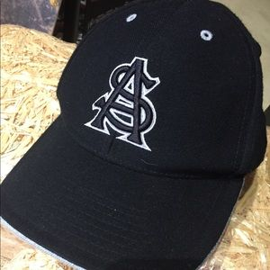 ASU Black Sparky on back Fitted Cap